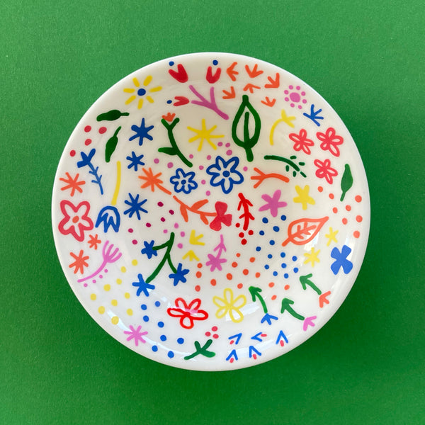 Small Rainbow Flowers 1 - Hand Painted Porcelain Round Bowl