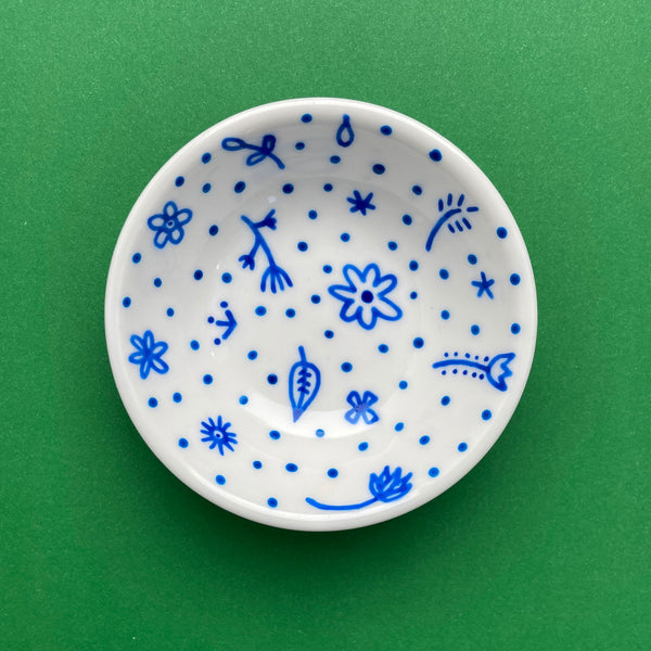Blue Flowers and Dots All Over 6 - Hand Painted Porcelain Round Bowl