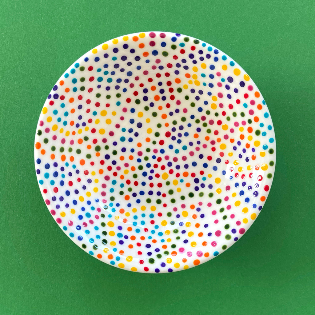 Rainbow Dots (interior only) - Hand Painted Porcelain Round Bowl