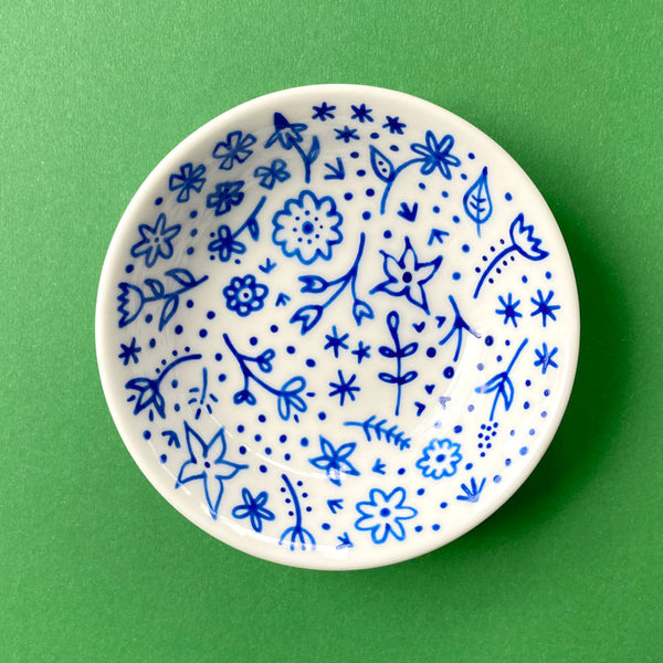 Blue Floral 6 - Hand Painted Porcelain Round Bowl