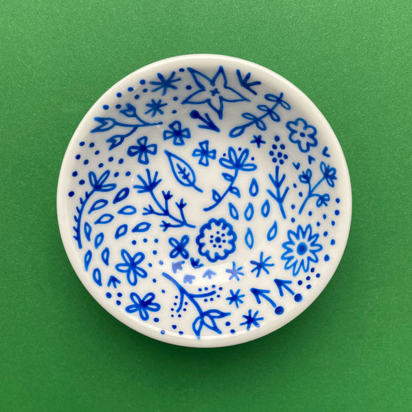 Blue Floral 7 - Hand Painted Porcelain Round Bowl