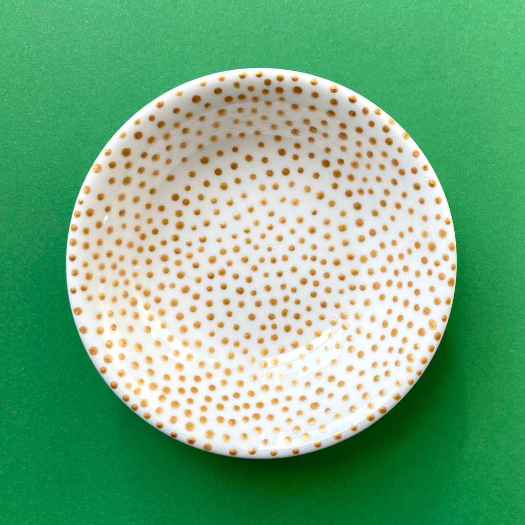 Gold Dots (interior only) - Hand Painted Porcelain Round Bowl
