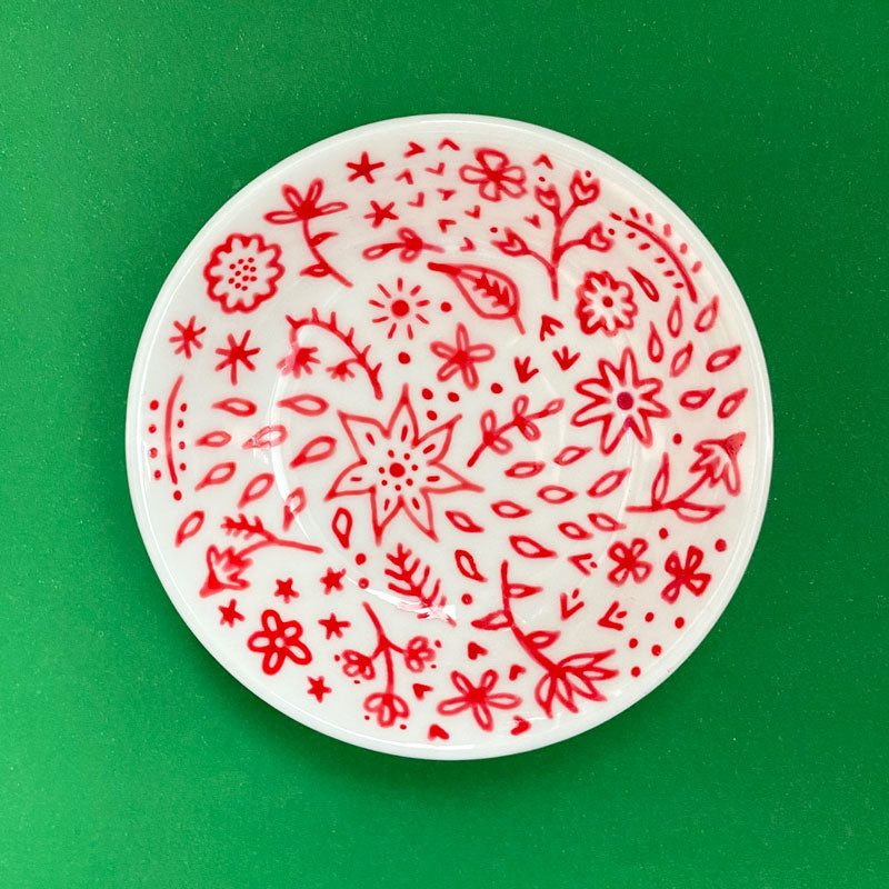 Red Floral 8 - Hand Painted Porcelain Round Bowl