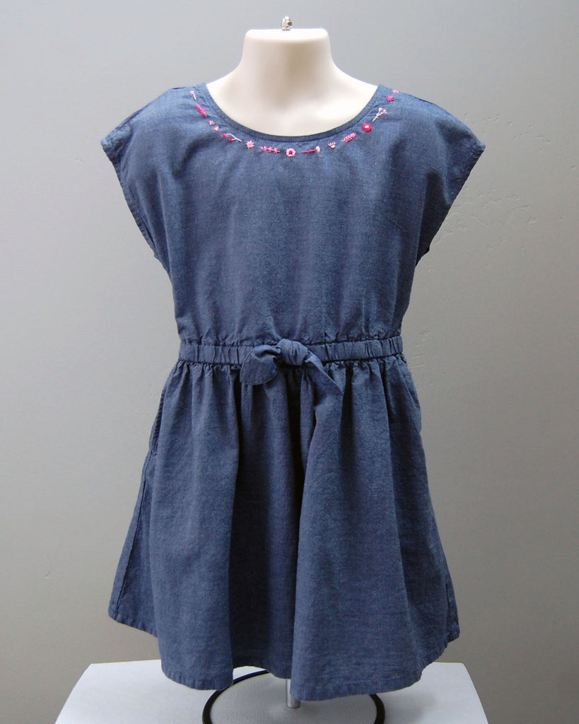 Girl's Embroidered Chambray Dress Pink Flowers (Size 3T-4T)