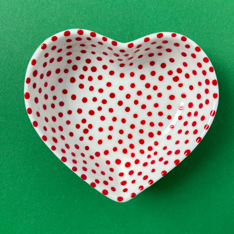 Red Dots All Over - Hand Painted Porcelain Heart Bowl