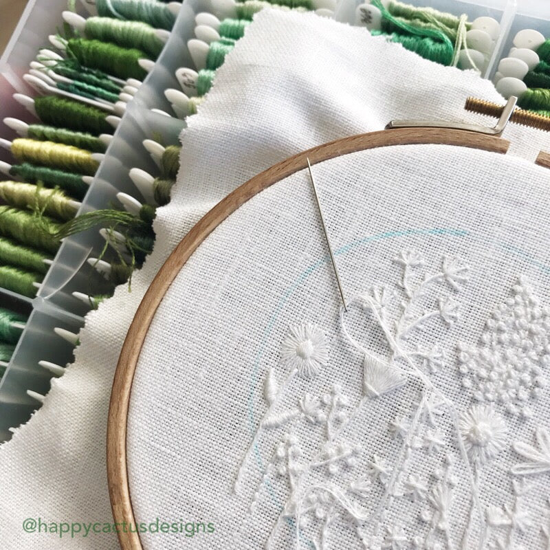 Monochromatic White Flowers on White Linen Hand Embroidered Art