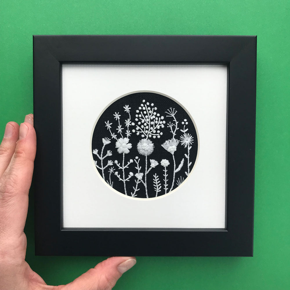 Monochromatic White Flowers on Black Linen Style 1 Hand Embroidered Art