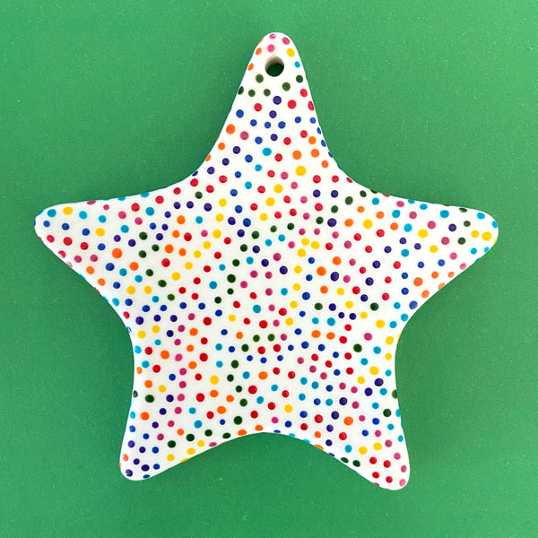 Rainbow Dot B - Hand Painted Star Ornament