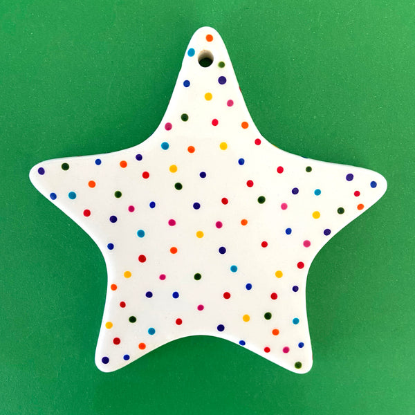 Rainbow Dot C - Hand Painted Star Ornament