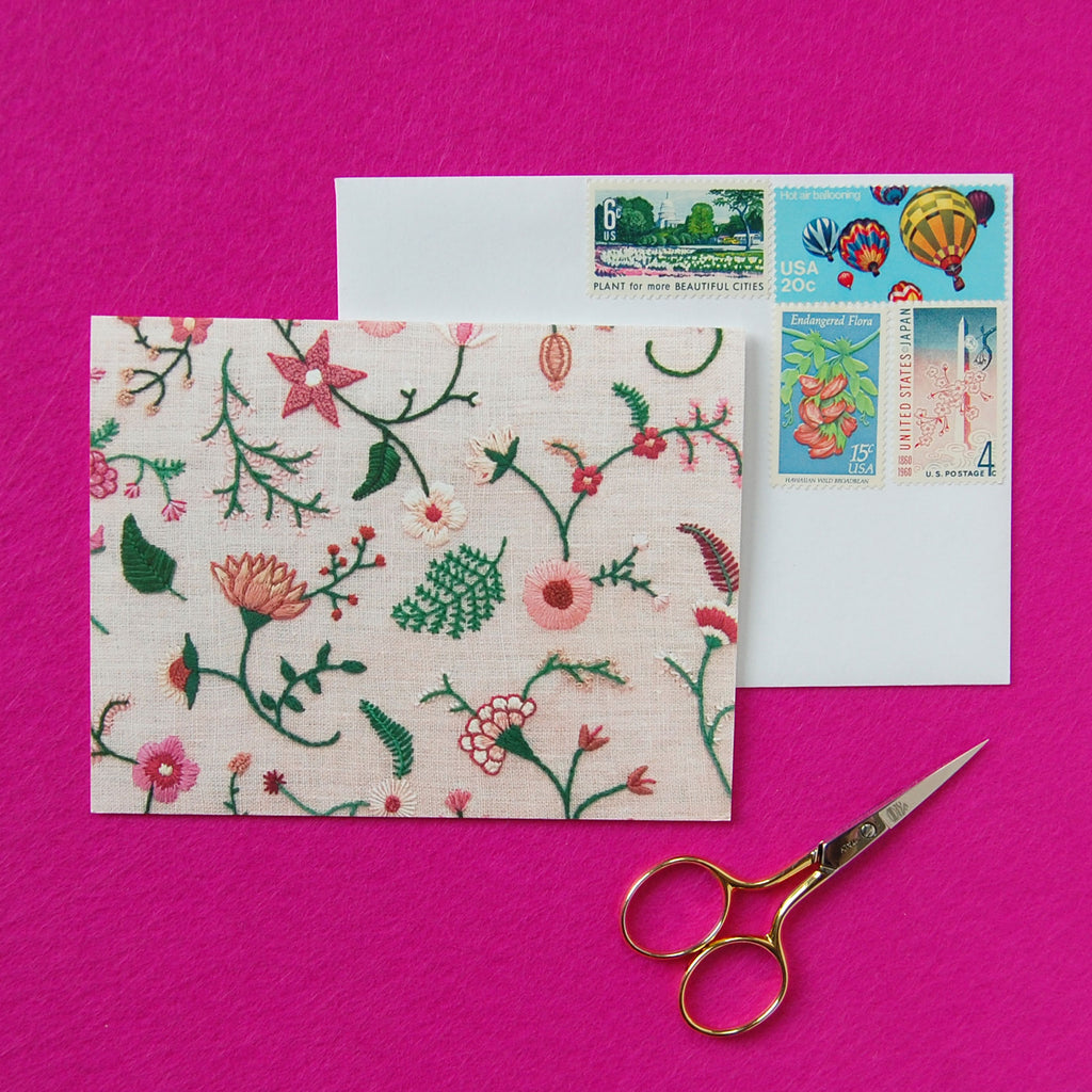 Hand Embroidered Photo Stationery - Pink Flowers on Pink