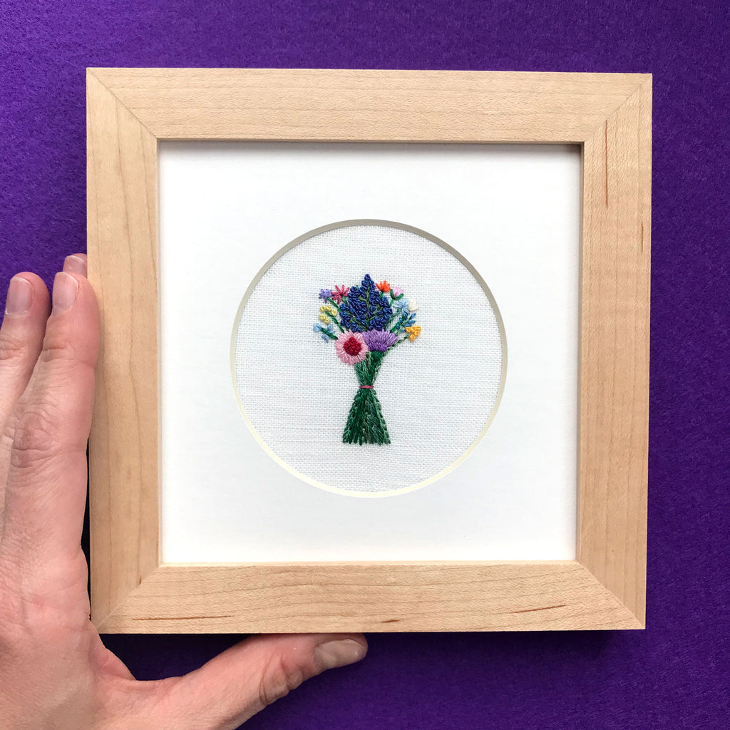 Rainbow Bouquet with Dark Blue Buds on White Linen Hand Embroidered Art