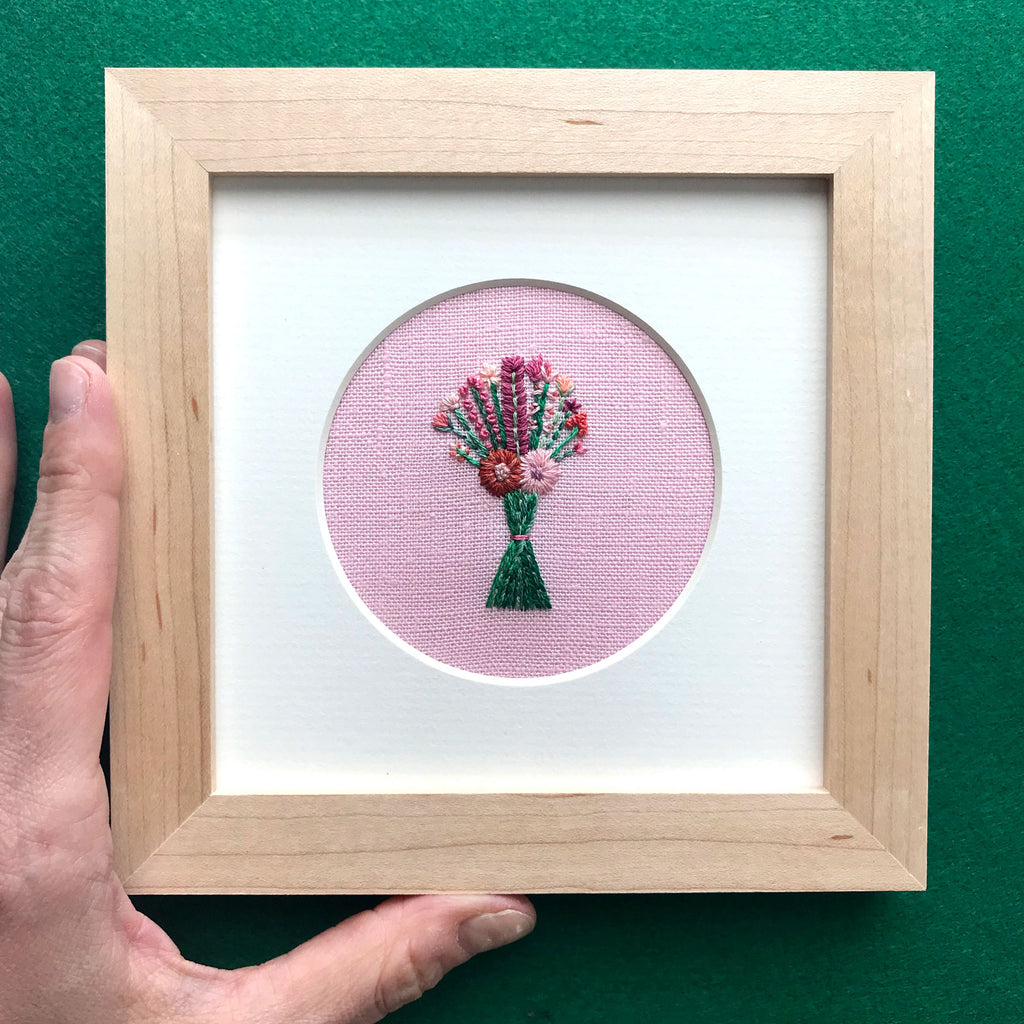 Bouquet with Pink and Orange Flowers on Pink Linen Hand Embroidered Art