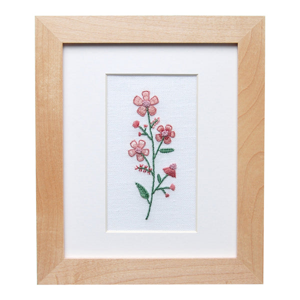 Single Flower in Shades of Pink Hand Embroidered Art