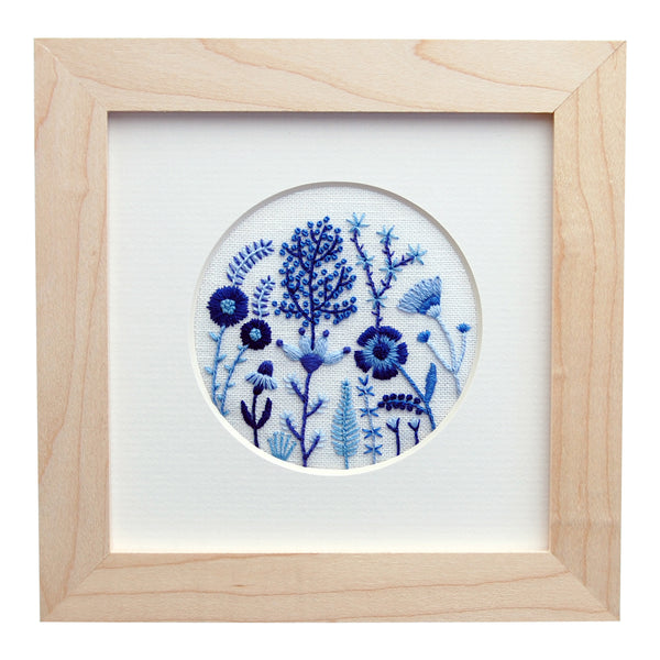 "Blue Flowers (3"" Circle) on White Linen Hand Embroidered Art"