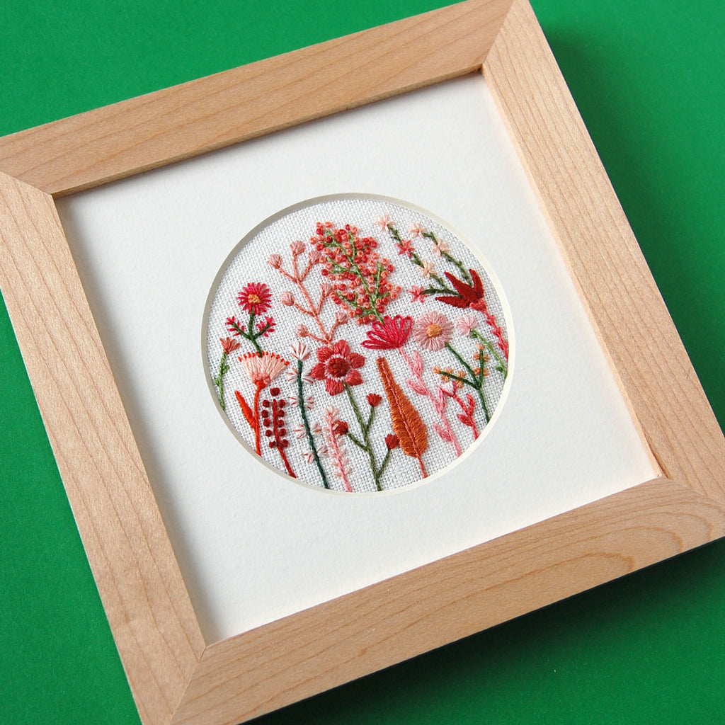 "Desert Pink and Coral Flowers (3"") on White Linen Hand Embroidered Art"