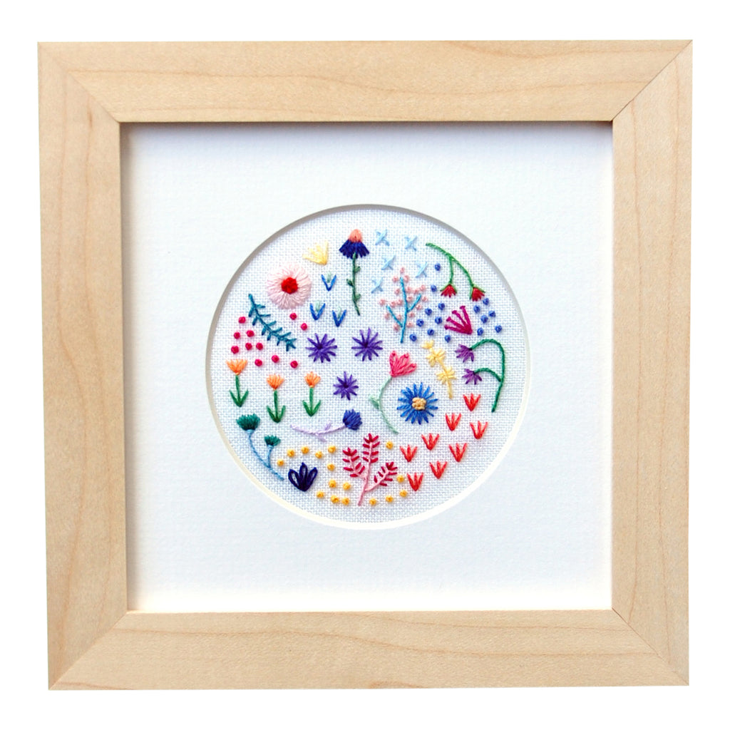 "Mini Rainbow Flowers (3"") Style 3 on White Linen Hand Embroidered Art"