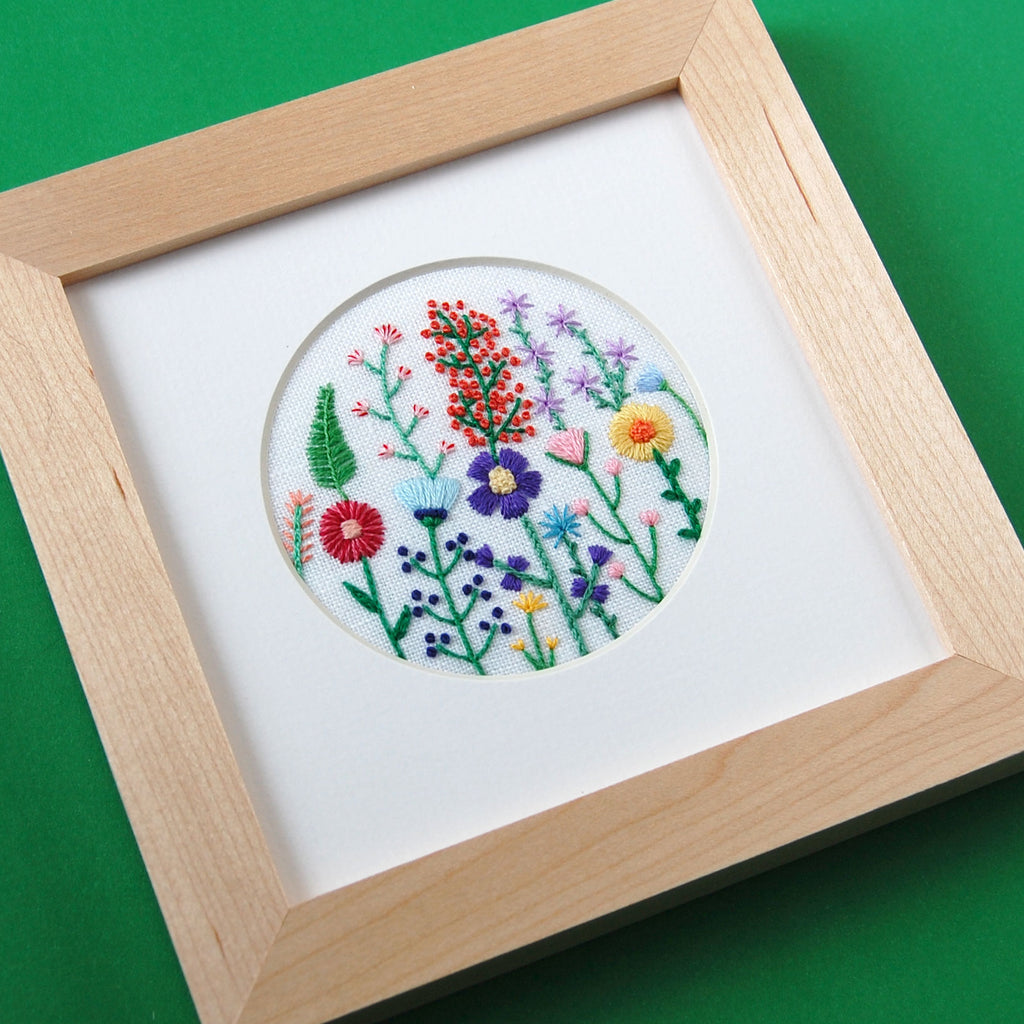 "Rainbow Flowers (3"") on White Linen Hand Embroidered Art"