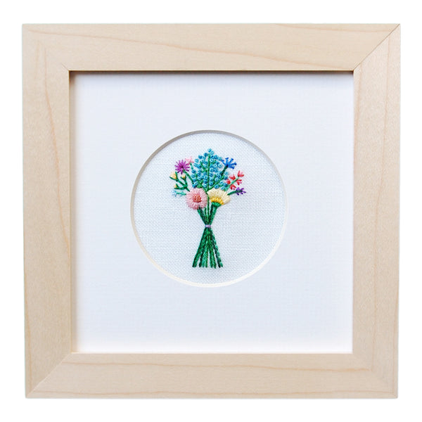 Bouquet with Blue Buds on White Linen Hand Embroidered Art