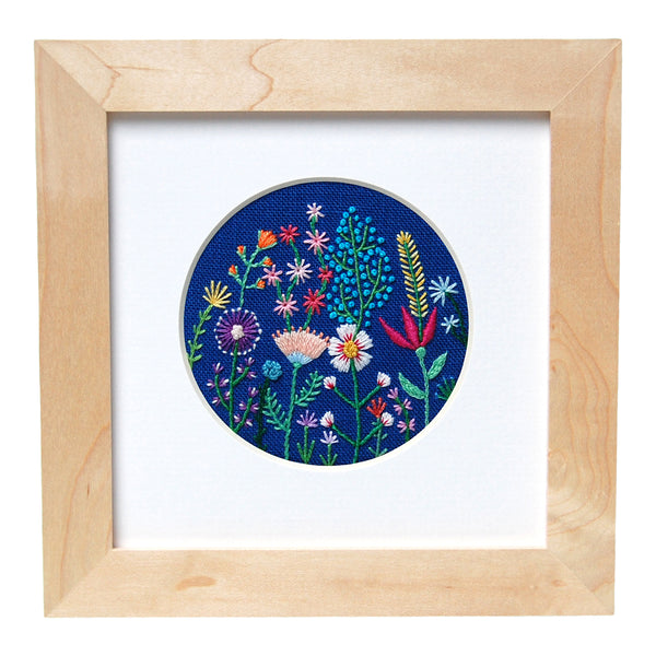 "Rainbow Flowers (3"") on Bright Blue Linen Hand Embroidered Art"