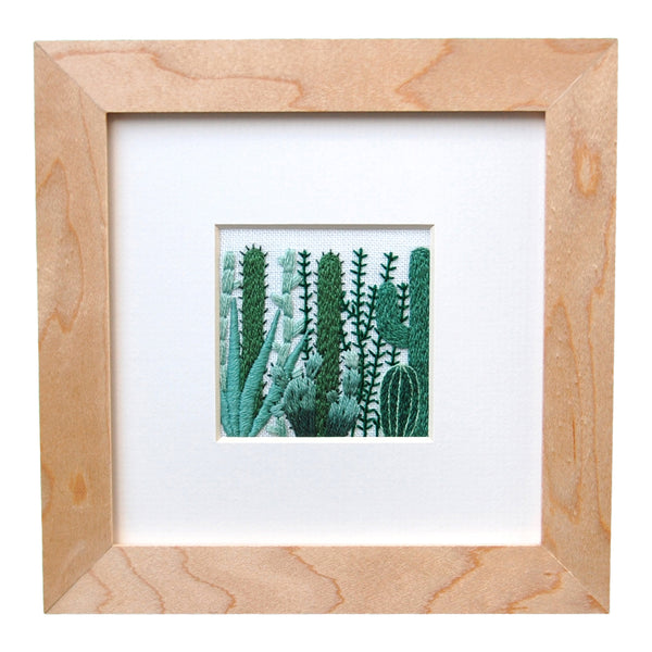 "Cactus Grouping (2.25"") on White Linen Hand Embroidered Art"