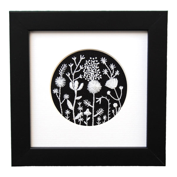 Monochromatic White Flowers on Black Linen Hand Embroidered Art