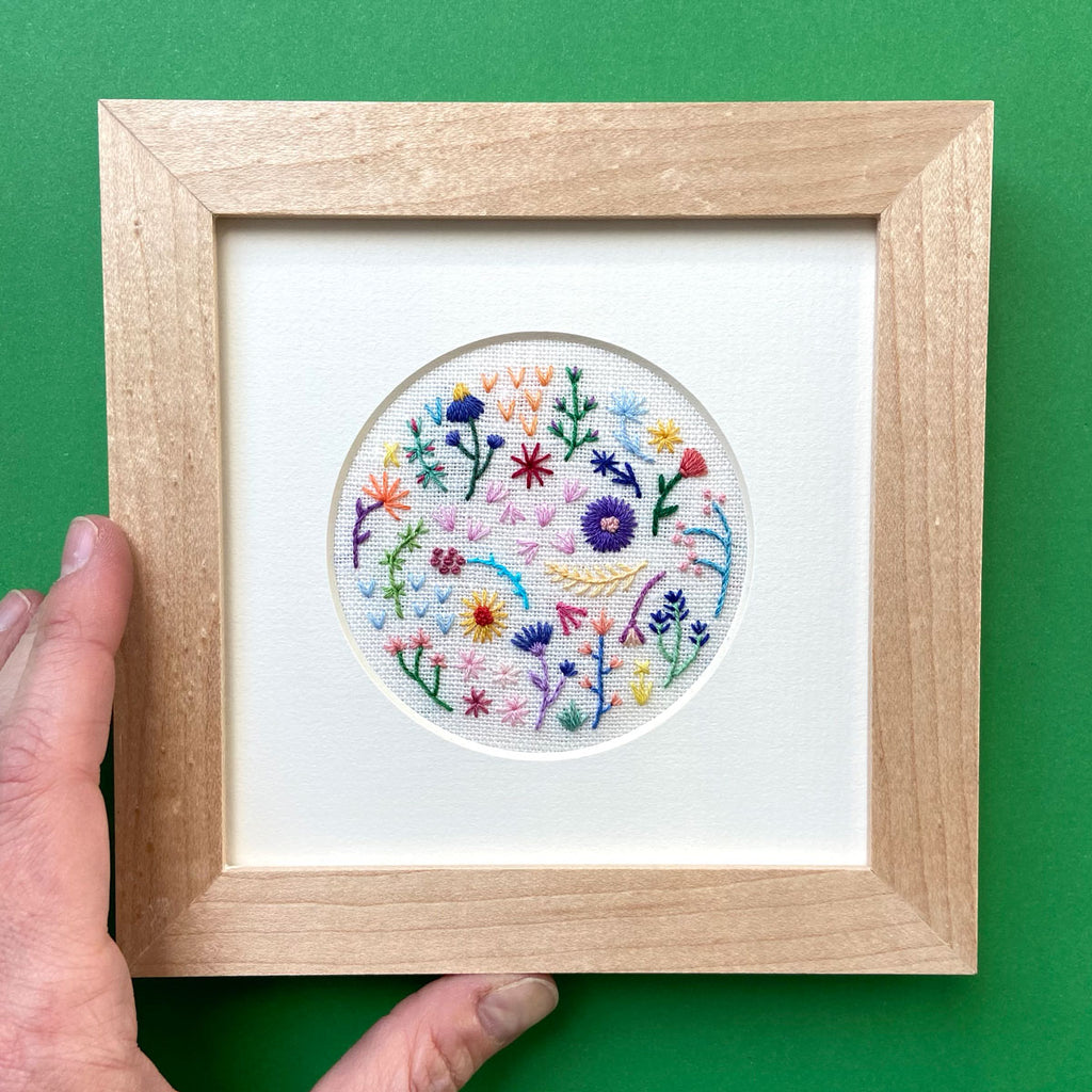 Mini Rainbow Flowers Style 2 on Cream Linen Hand Embroidered Art