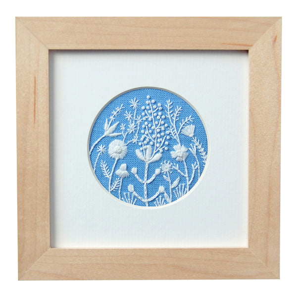 "Monochromatic White Flowers (2.75"") on Blue Linen Hand Embroidered Art"