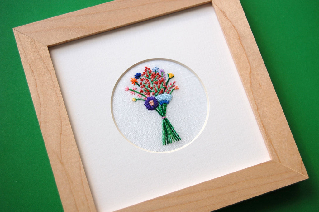 Bouquet with Coral Buds on White Linen Hand Embroidered Art