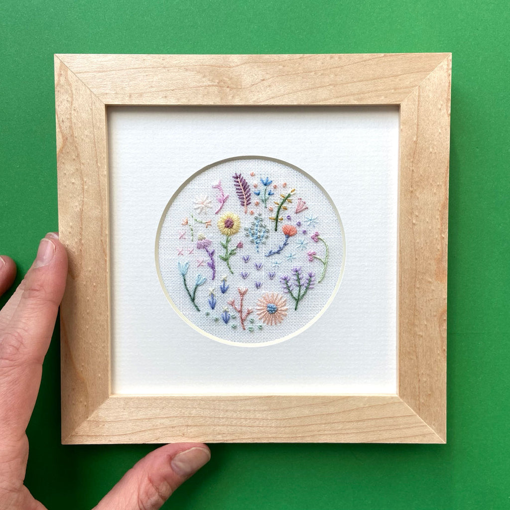 "Mini Pastel Flowers (3"") on White Linen Hand Embroidered Art"