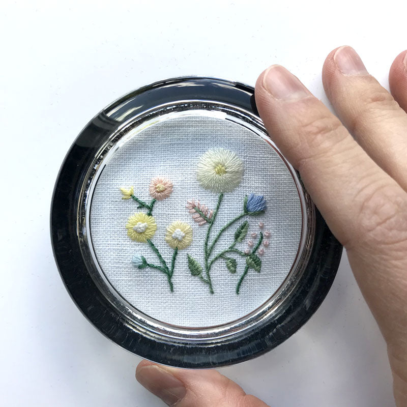 Yellow and Pink Flowers on White Linen Hand Embroidered Paperweight