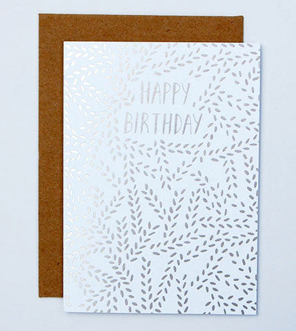 happy birthday silver foil buds card