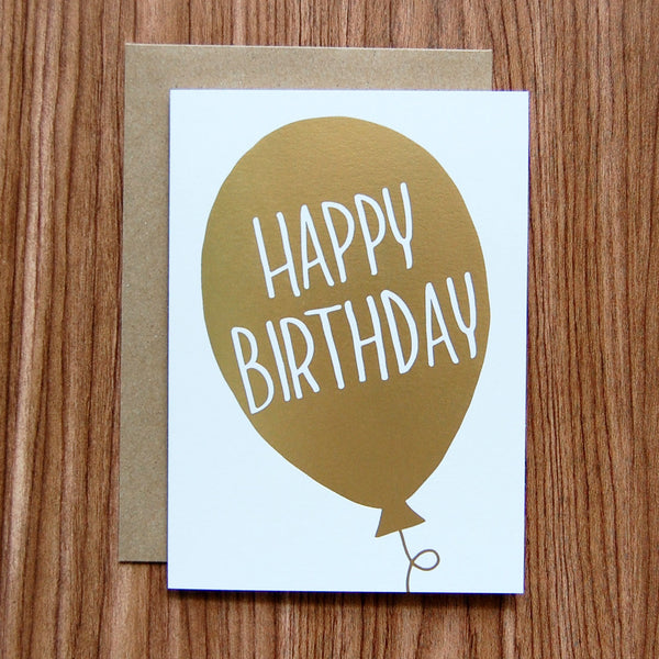 happy birthday gold foil balloon card
