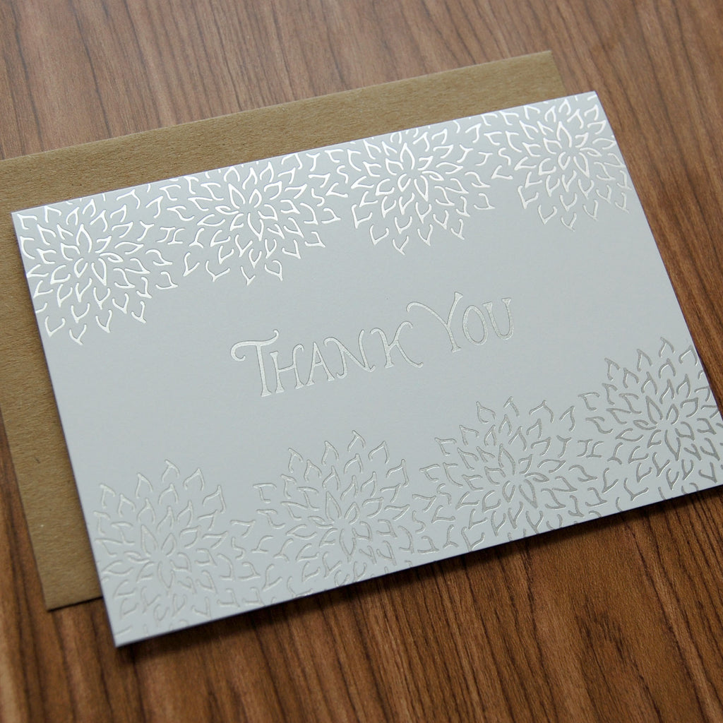 Thank You Silver Foil Blossoms Card