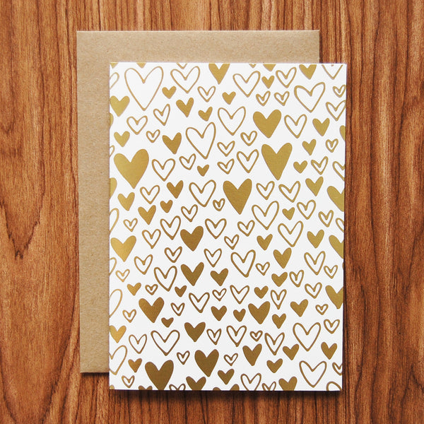 Happy Cactus Designs Foil Stamped Hearts Card