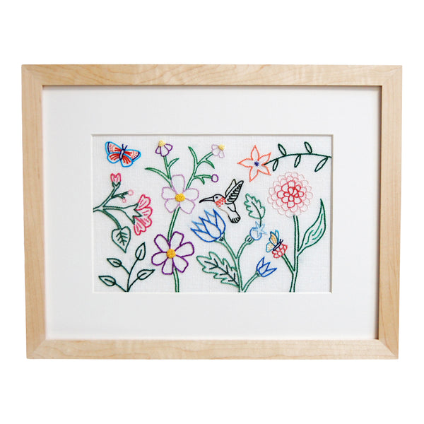 Hummingbird, Butterflies, and Flowers on Cream Linen Hand Embroidered Art