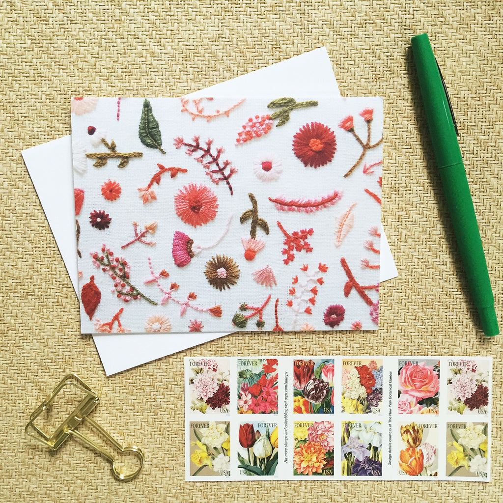 Hand Embroidered Photo Stationery - Pink and Red Flowers