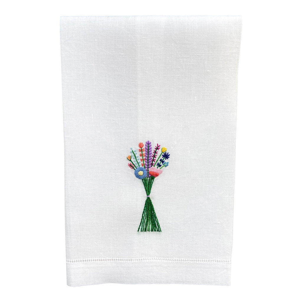 Happy Cactus Designs Hand Embroidered Guest Towel • Design and Image Copyright Happy Cactus Designs