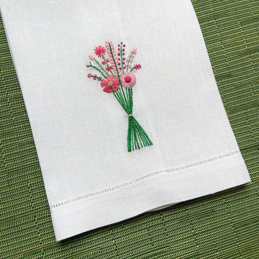 Happy Cactus Designs Hand Embroidered Guest Towel • Image and Design Copyright Happy Cactus Designs