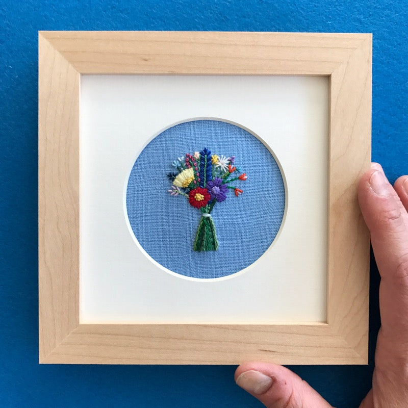 Bouquet with Blue Feather on Blue Linen Hand Embroidered Art