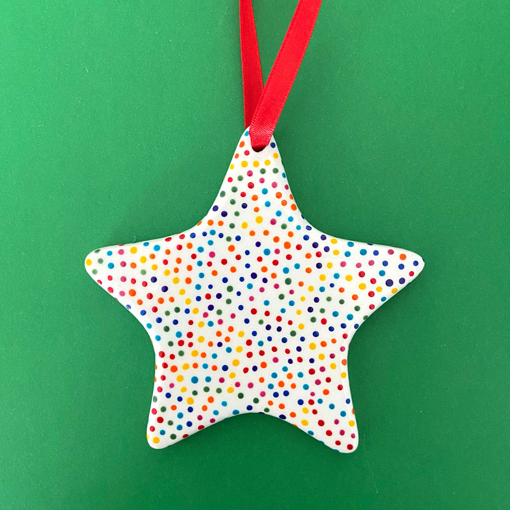 Rainbow Dot 12 - Hand Painted Star Ornament