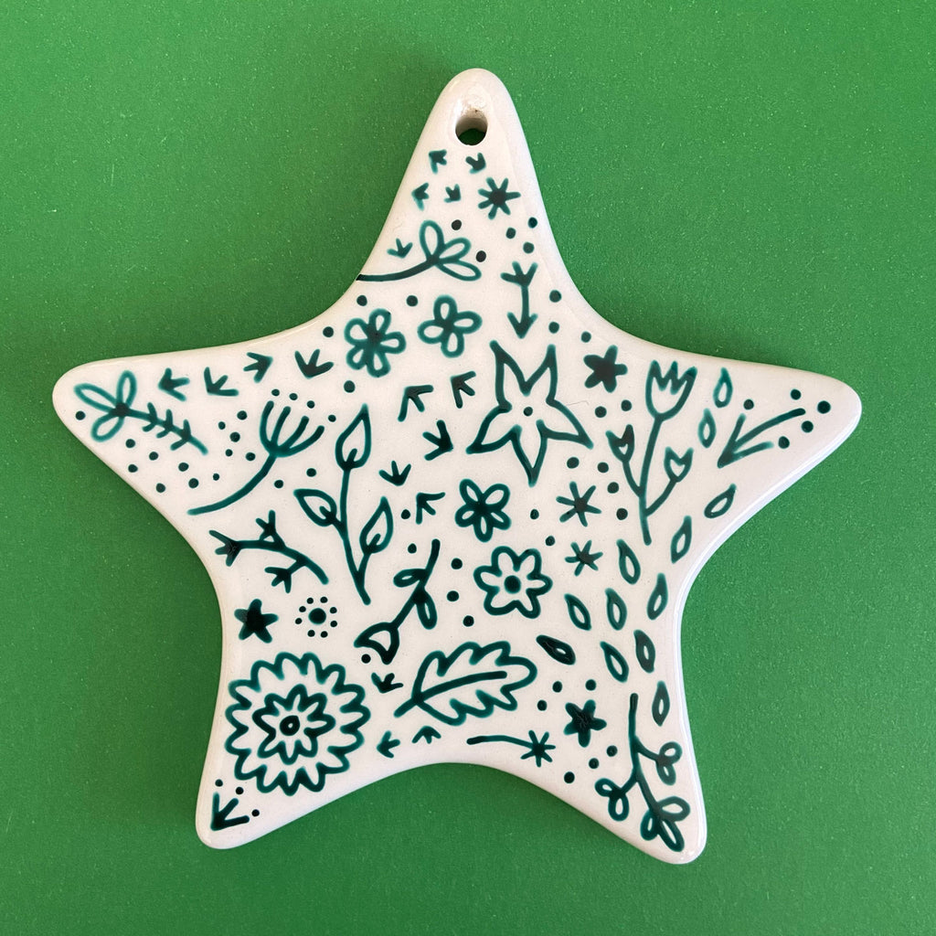 Red and Green Floral 4 - Hand Painted Star Ornament