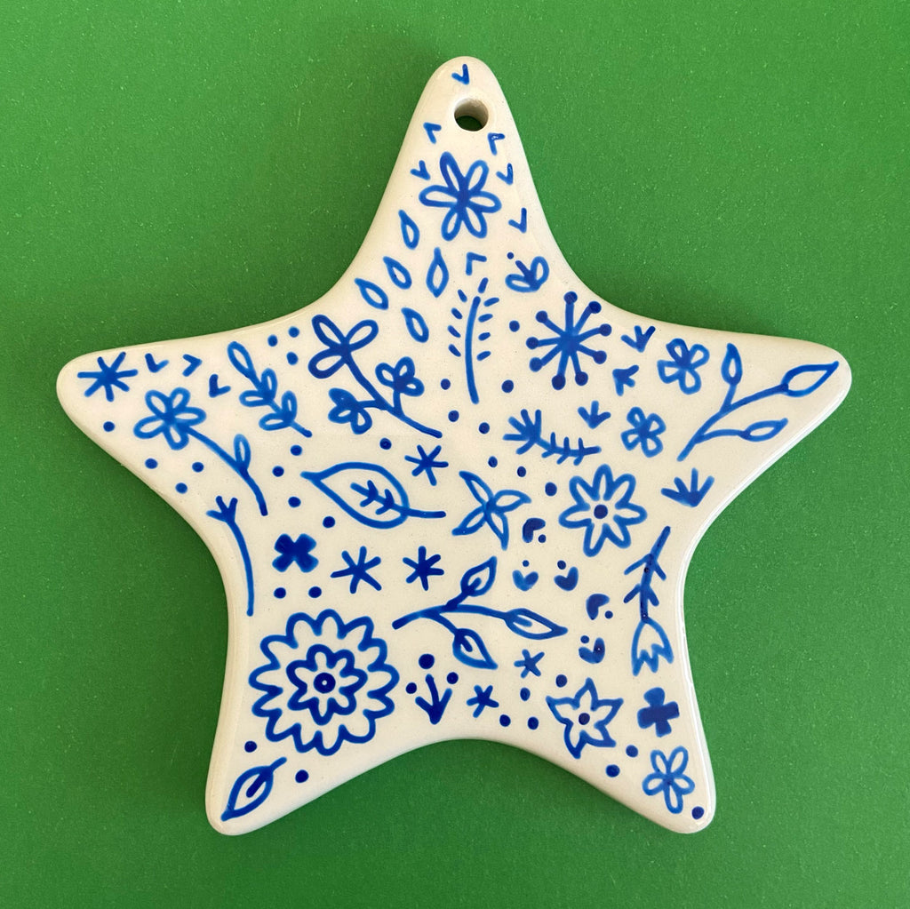 Blue Floral 5 - Hand Painted Star Ornament
