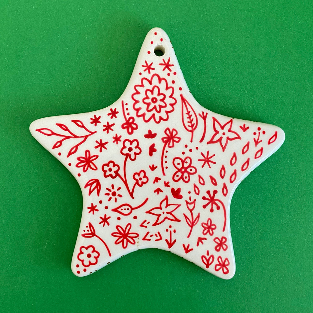 Red and Green Floral 6 - Hand Painted Star Ornament