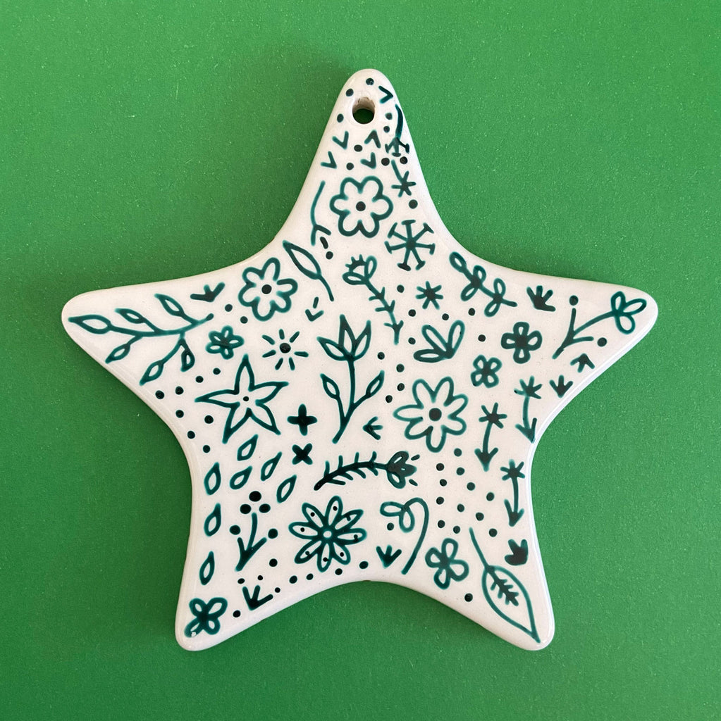 Red and Green Floral 8 - Hand Painted Star Ornament
