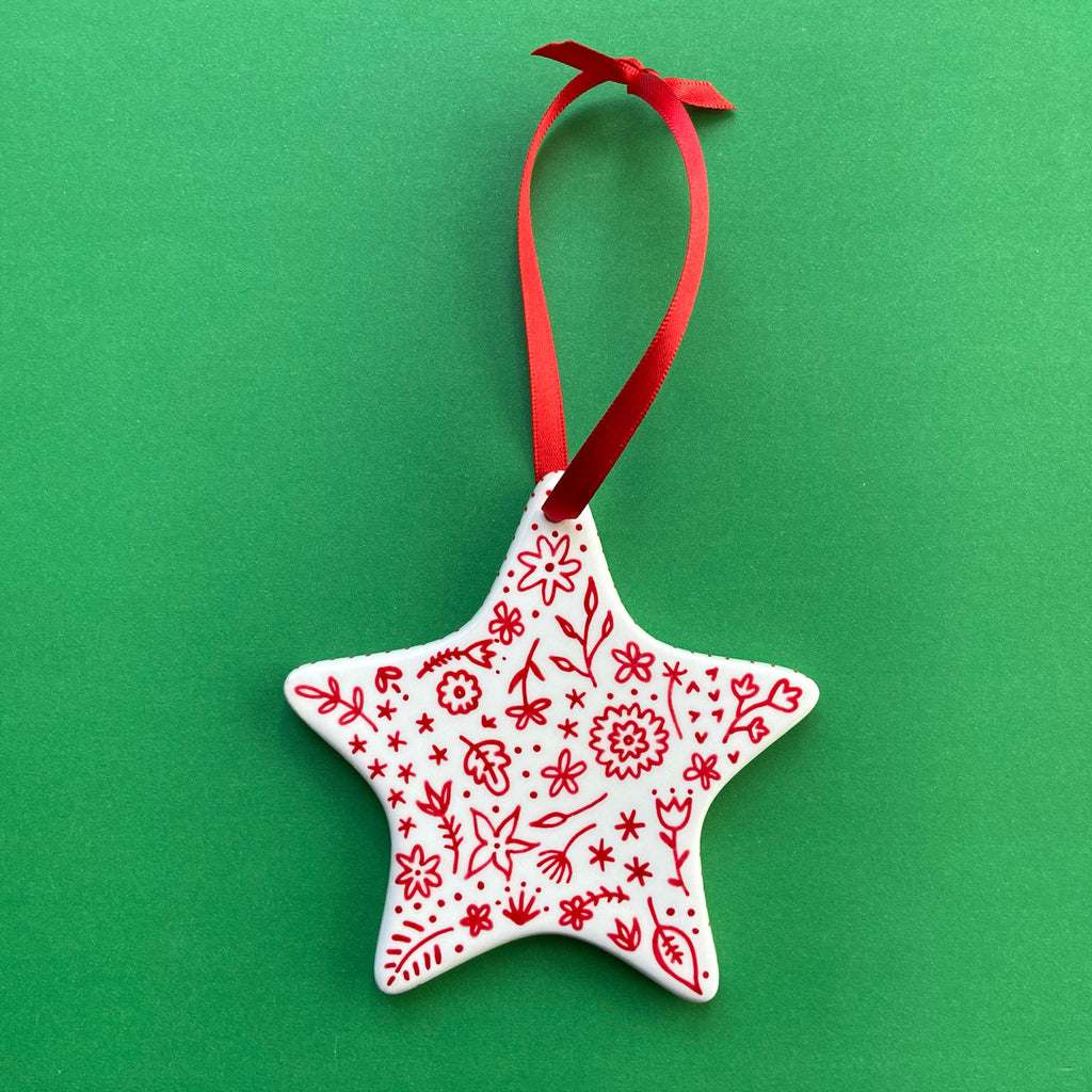 Red Floral 9 - Hand Painted Star Ornament