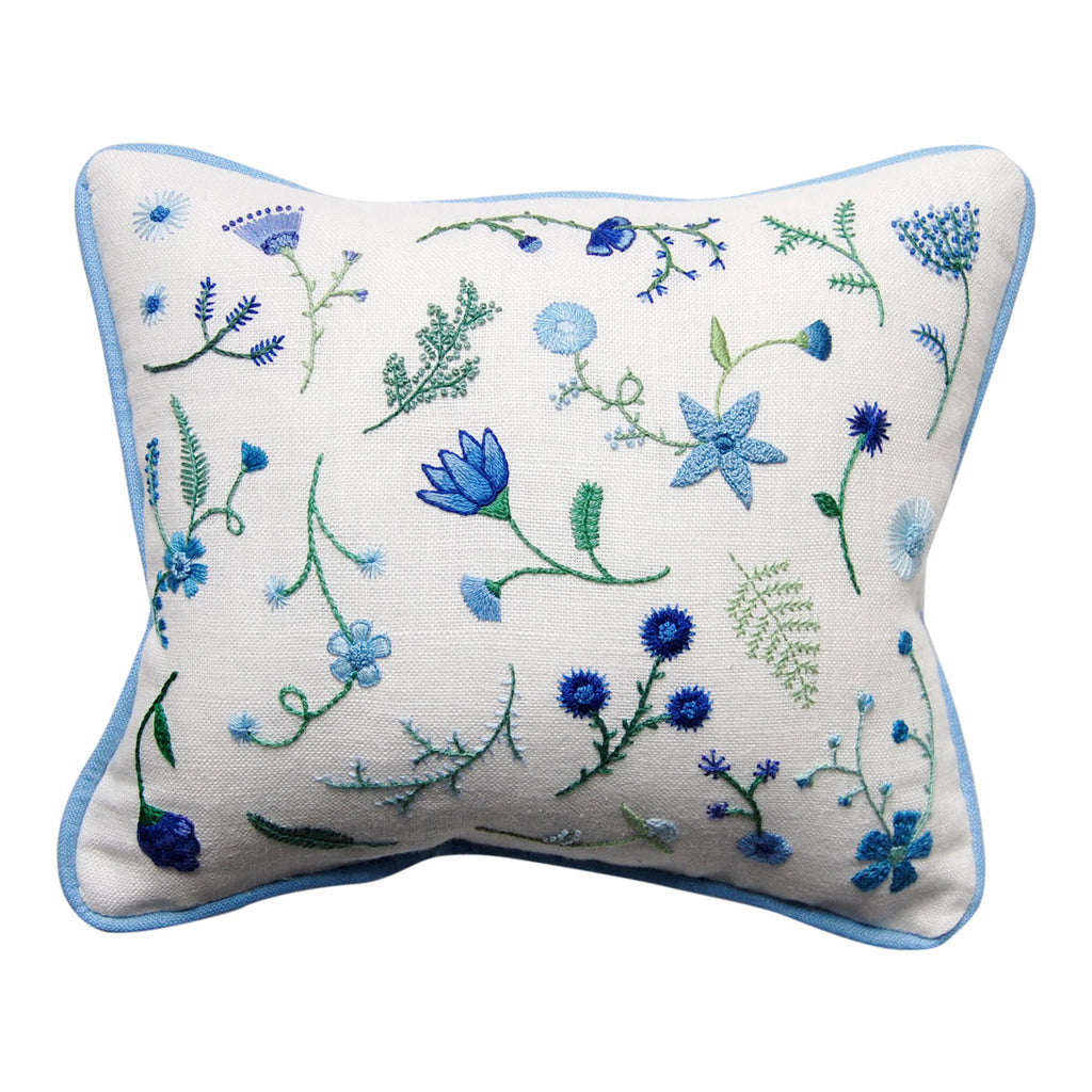Hand Embroidered Blue Flowers with Green Stems Pillow