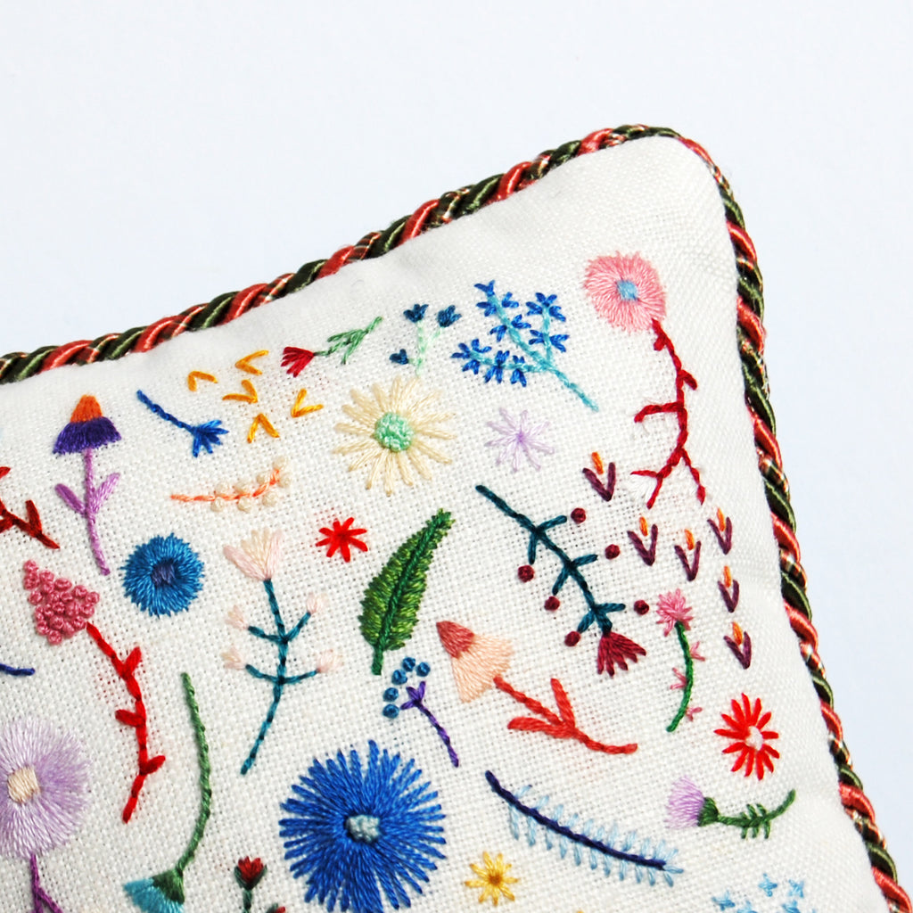 Happy Cactus Designs Hand Embroidered Pillow. Image and design copyright Happy Cactus Designs.