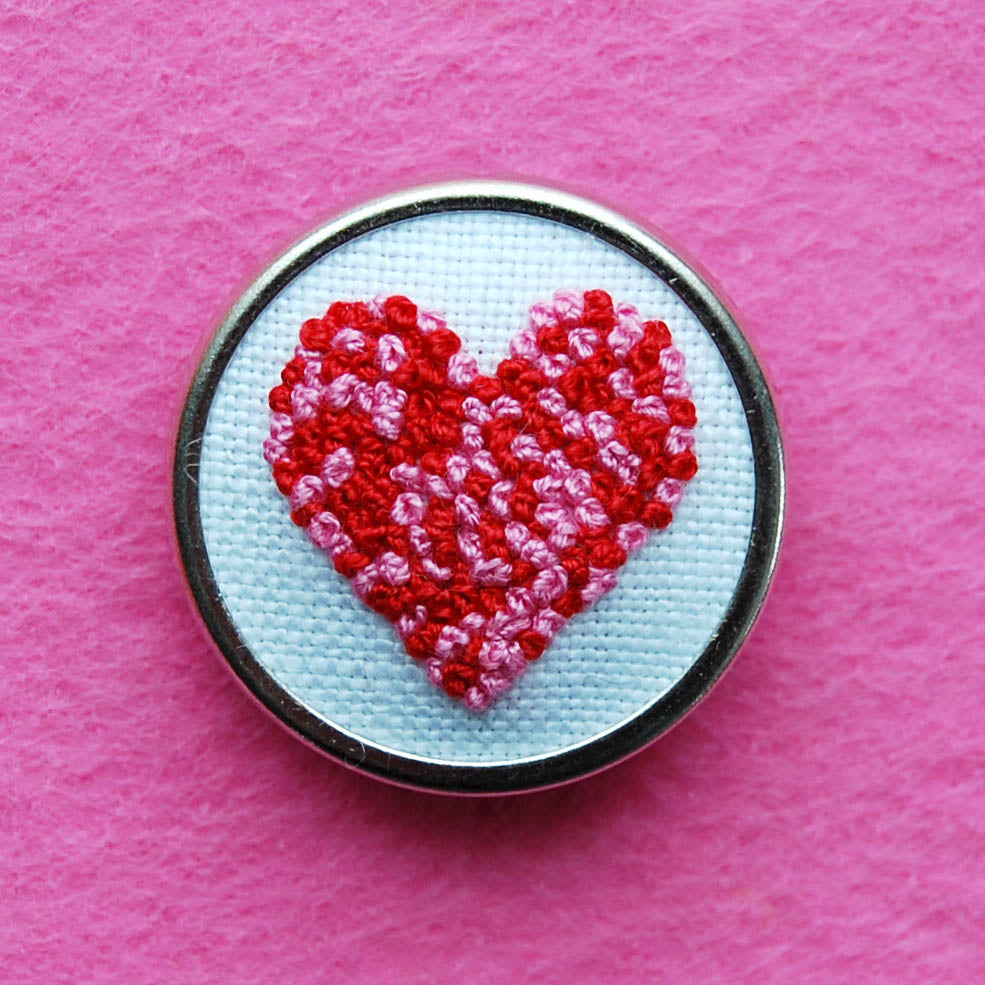 Hand Embroidered Pin - Heart 1 Red and Pink on White