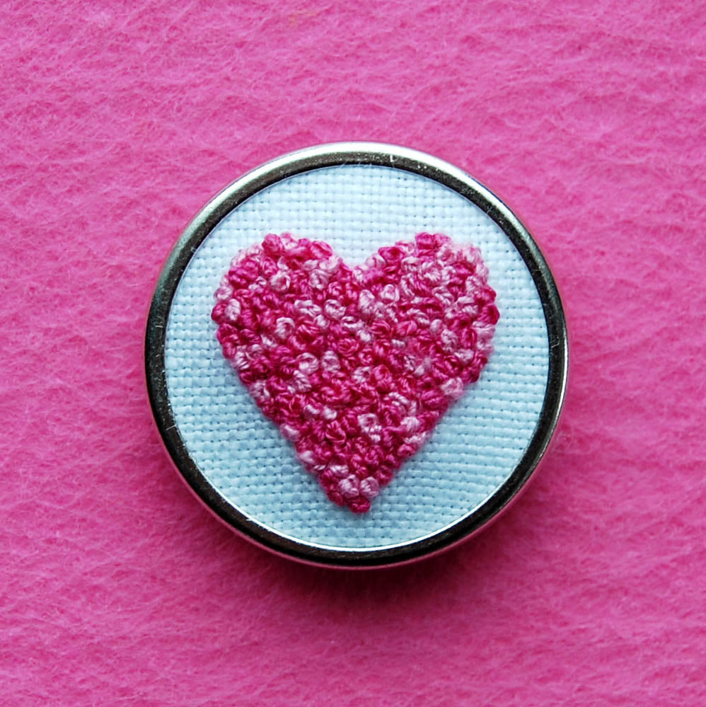 Hand Embroidered Pin - Heart 2 Pinks on White