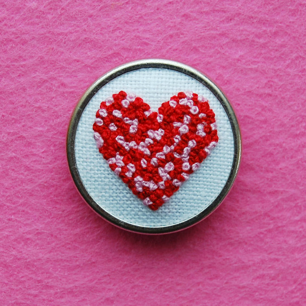Hand Embroidered Pin - Heart 3 Red and Pink on White